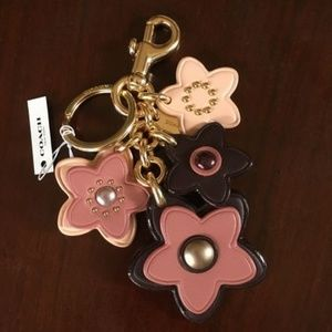 COACH Large Key Ring Fob Bag Charm Flower Floral